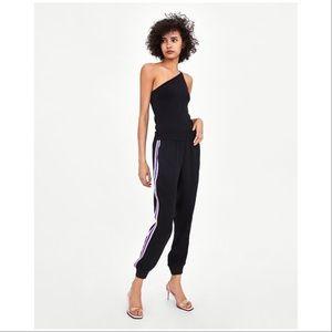 Zara TRF Jogger Pants Stripes with Pockets NWT